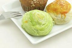Gâteau taiwanais de Mooncake et de banane Photographie stock libre de droits