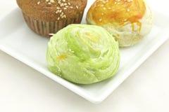 Gâteau taiwanais de Mooncake et de banane Photos stock