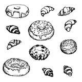 Gâteau tiré par la main réglé de croissant de beignet de boulangerie Images libres de droits