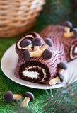 Gâteau traditionnel de Yule Log de Noël photo libre de droits