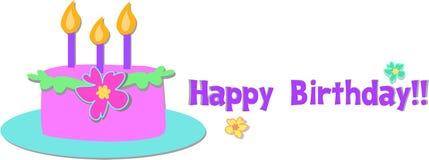 Gâteau tropical de joyeux anniversaire illustration stock