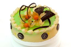 Gâteau vert crème Images stock