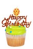 Gâteau vert d'anniversaire avec la bougie de ballon images stock