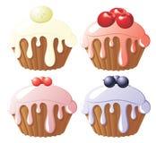 Gâteaux assortis de fruit Images libres de droits