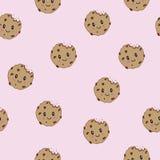 Gâteaux aux pépites de chocolat de sourire heureux mignons de vecteur Fond sans couture de modèle Icône plate d'iluustration de b illustration libre de droits