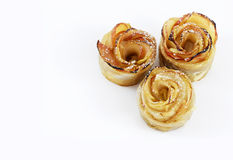 Gâteaux aux pommes formés par fleur Photos libres de droits