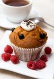 Gâteaux avec des framboises Image libre de droits