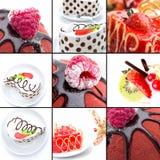 Gâteaux avec du chocolat et des baies. Collage de dessert Photos libres de droits