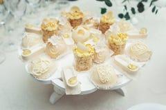 Gâteaux blancs et petits gâteaux sur le plat de blanc de vintage Image libre de droits