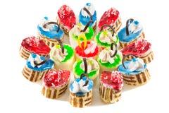 Gâteaux colorés de fantaisie Photographie stock libre de droits