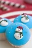 Gâteaux de bonhommes de neige Photos libres de droits