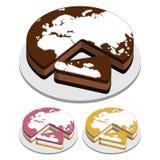 Gâteaux de carte du monde Images stock