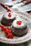 Gâteaux de chocolat avec des groseilles rouges Photos stock