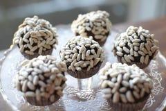 Gâteaux de chocolat avec du riz soufflé Photographie stock libre de droits