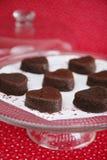Gâteaux de chocolat de coeur images libres de droits