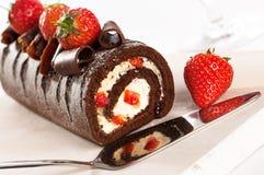 Gâteaux de chocolat et de fraise Images libres de droits