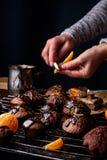 Gâteaux de chocolat faits maison Photographie stock libre de droits