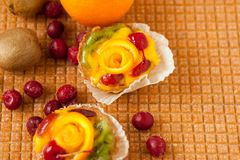 Gâteaux de fruit, endroit pour le texte images libres de droits