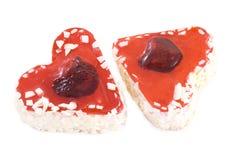 Gâteaux en forme de coeur photographie stock