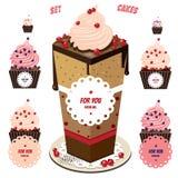 Gâteaux mignons réglés Photographie stock