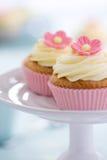 Gâteaux roses de fleur Photographie stock libre de droits