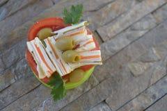 Gâteaux salés blancs oranges Photographie stock