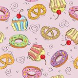Gâteaux sans couture de modèle de vecteur Photographie stock libre de droits