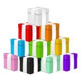 Góra Barwioni 3d prezentów pudełka z Białym faborkiem odizolowywającym na białym tle Element dla Różnorodnych Wakacyjnych projekt ilustracja wektor