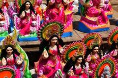 Göttin Lakshmi, auf dem Schaukasten eines Straßenstalls lizenzfreie stockbilder