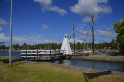 Götakanal锁在Sjötorp,瑞典 免版税库存照片