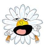 Gähnende Kamillenblumenkarikatur Stockfotos