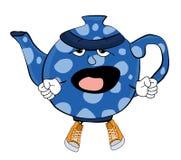 Gähnende Teekannenkarikatur Stockfoto