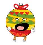 Gähnende Weihnachtsbaum-Spielzeugkarikatur Stockbild