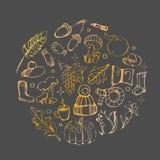 Gällde den guld- cirkellinjen handen drog uppsättningen för hösten av olika symboler nedgången Rund mall för isolerade hälsningko arkivbild