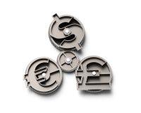 Gänge mit Dollarzeichen-, Pfund- und Eurosymbol, Illustration 3D Stockbilder
