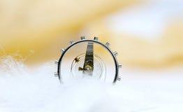 Gänge von einem Uhrwerk auf einem weißen Hintergrund Lizenzfreie Stockfotografie