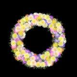 Gänseblümchen und Blumenblatt mehrfarbiger folkart Wreath lizenzfreie abbildung