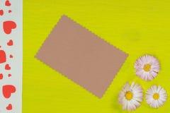 Gänseblümchen und Karte auf Kalkpapier Stockbild