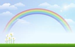 Gänseblümchen und Regenbogen gegen blauen Himmel Lizenzfreie Stockfotos