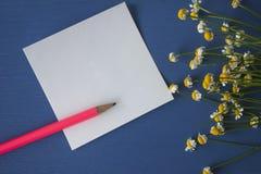 Gänseblümchenblumenstrauß mit rosa Bleistift und Aufkleber und Bleistifte Stockfotos