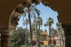 Gärten des wirklichen Alcazar von Sevilla Andalusien, Spanien Stockfotografie
