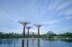 Gärten durch den Schacht, Singapur, lange Berührung Lizenzfreies Stockbild