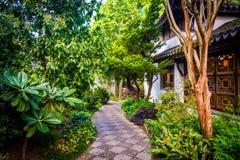 Gärten entlang einem Gehweg bei Lan Su Chinese Garden in Portland Lizenzfreie Stockbilder