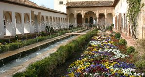 Gärten im Alhambra, Granada, Spanien Stockfotografie