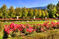Gärten von La Granja de San Ildefonso, Segovia, Olivenölseife und Leon, Spanien stockfotos