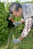 Gärtner, der heraus Grenze markiert Lizenzfreies Stockbild
