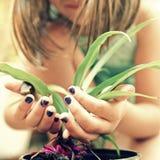 Gärtner des kleinen Mädchens Stockbild