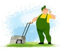 Gärtner mit einem Rasenmäher lizenzfreie abbildung