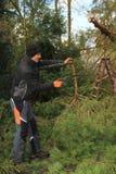 Gärtner mit Handsaw - Reinigung die Straße nach Sturm lizenzfreie stockbilder