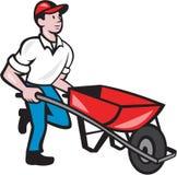 Gärtner Pushing Wheelbarrow Cartoon Lizenzfreie Stockbilder